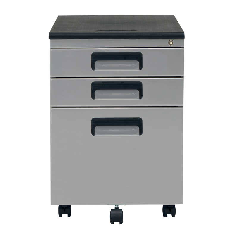Vertical Metal Rolling File Cabinet With 3 Lockable Drawers In Silver  Item  # 37013BOX