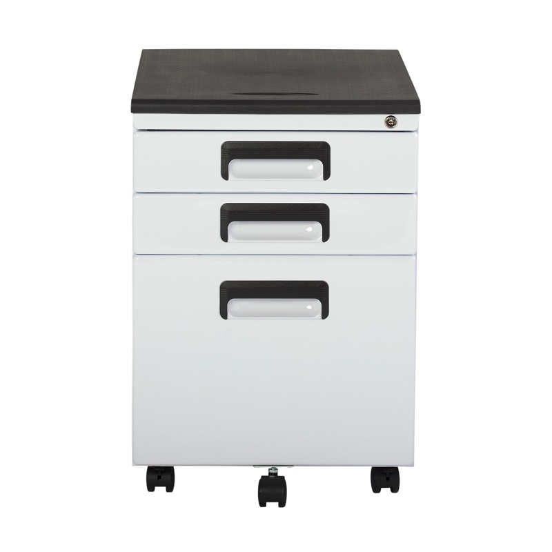 Vertical Metal Rolling File Cabinet With 3 Lockable Drawers In White  Item  # 37014BOX