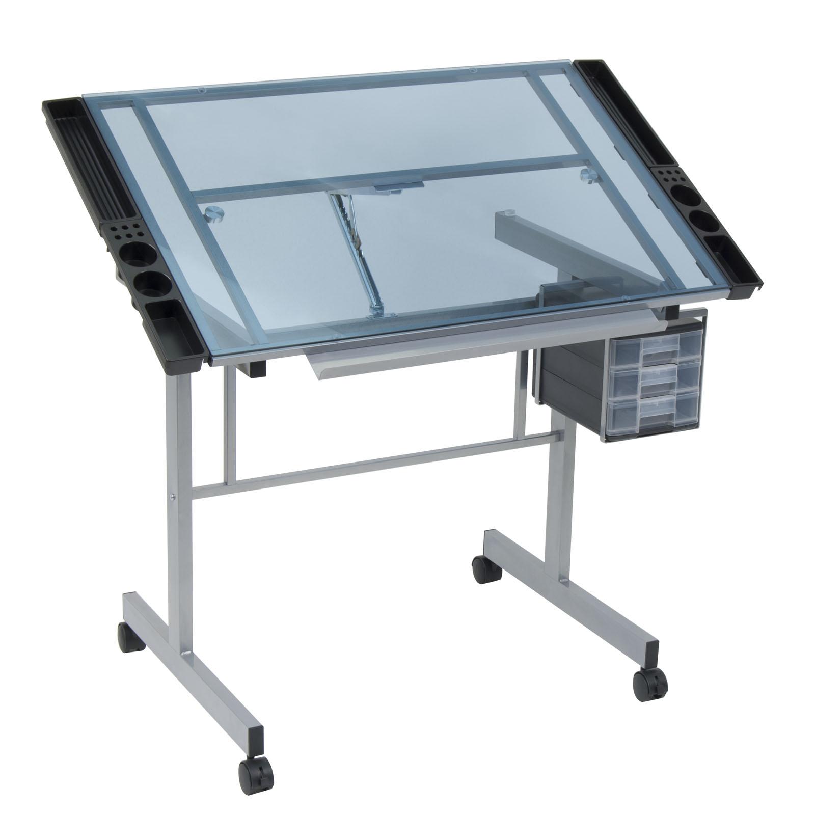 Sku 10053 Silver Blue Glass Arts Crafts Tables