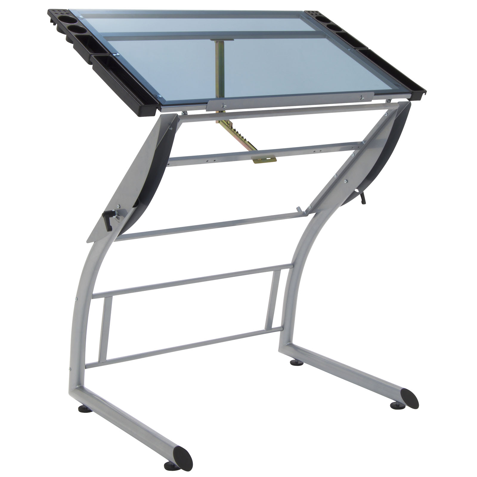 Triflex Height Adjustable Metal And Glass Drawing Table In Silver/Blue Glass  U2013 Item # 10089