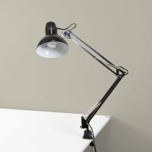 12022 Swing Arm Lamp Black with Bulb RmSet