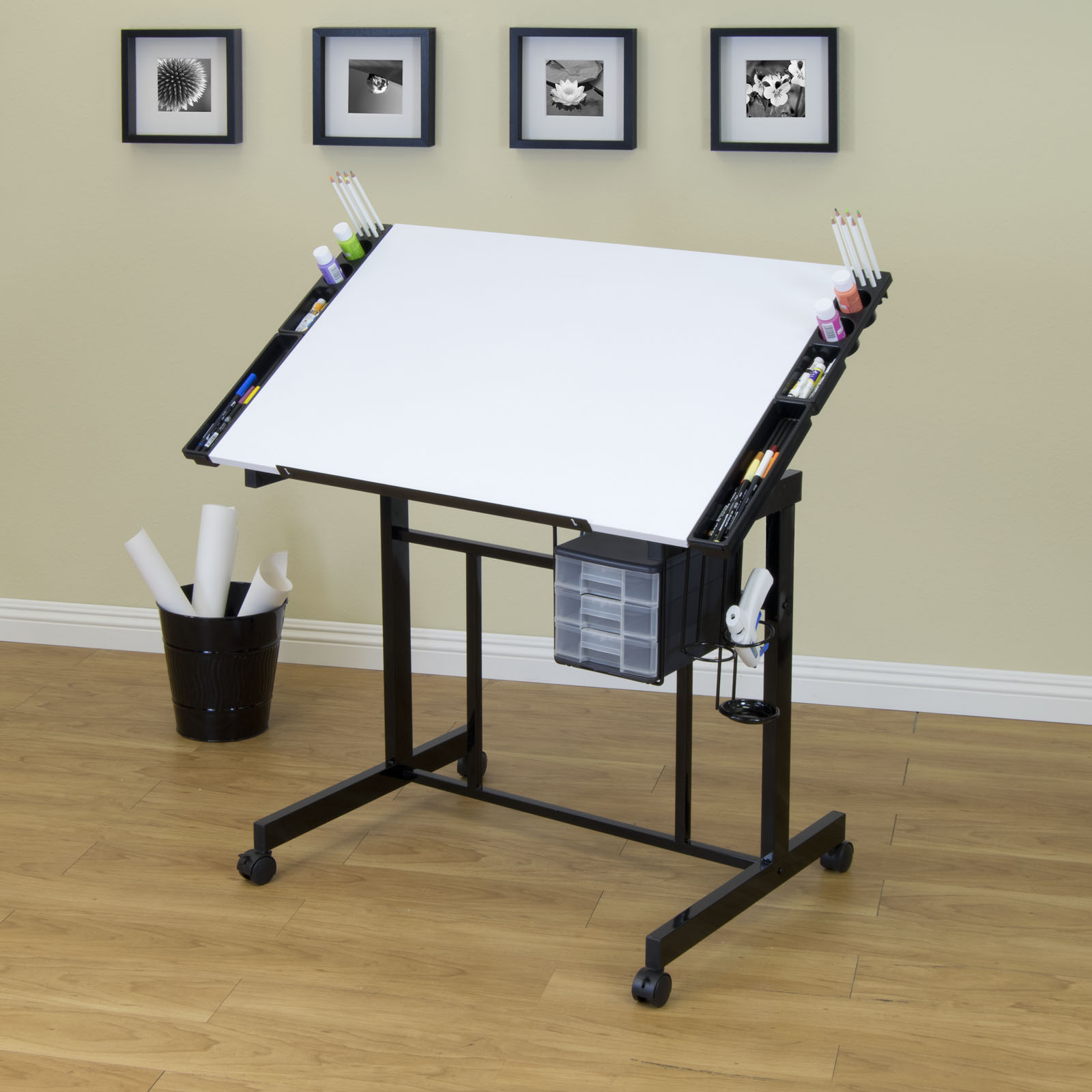 Deluxe Mobile Craft Station With Adjustable Top And Supply