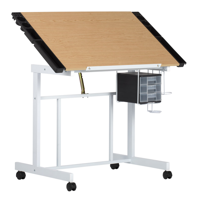 Deluxe Mobile Craft Station With Adjustable Top And Supply Storage