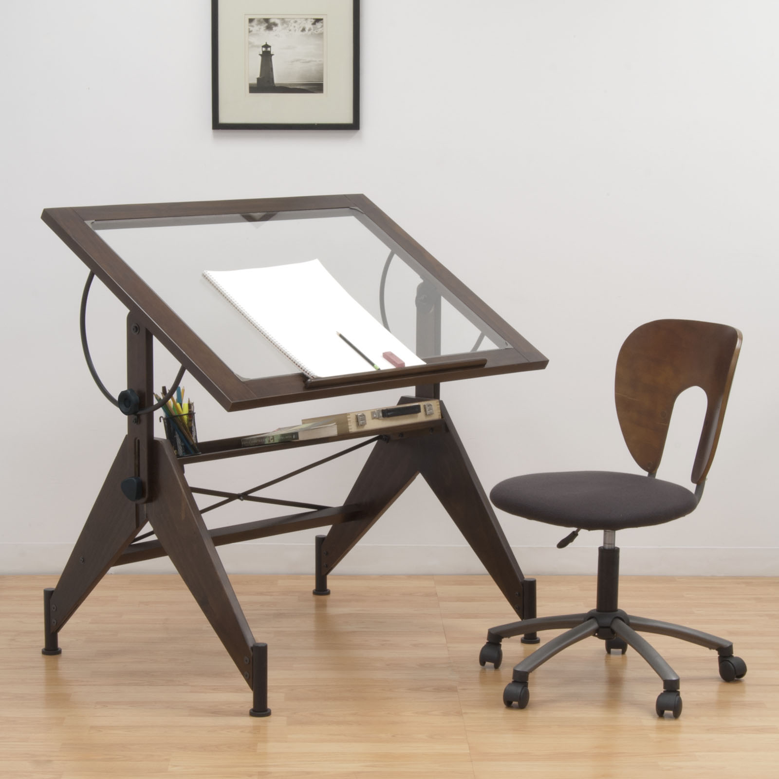 Merveilleux Aries Wood And Glass Drawing Table In Dark Walnut U2013 Item # 13310