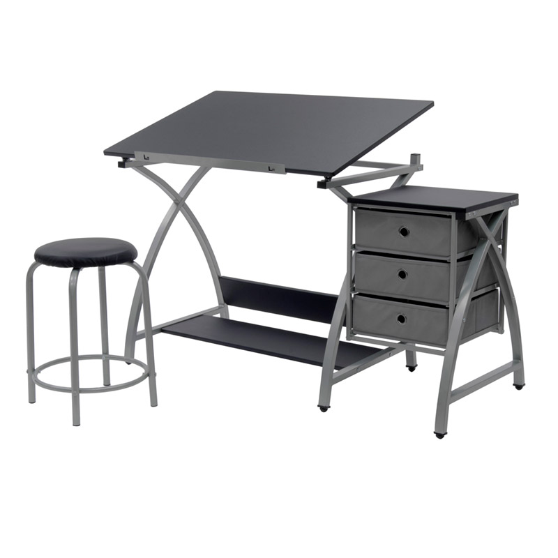 2 Piece Comet Craft Center Adjustable Top Table With Storage And Stool In  Silver/Black U2013 Item # 13325