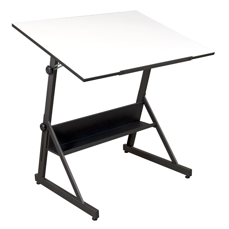 Solano Height Adjustable Drafting Table In Charcoal White