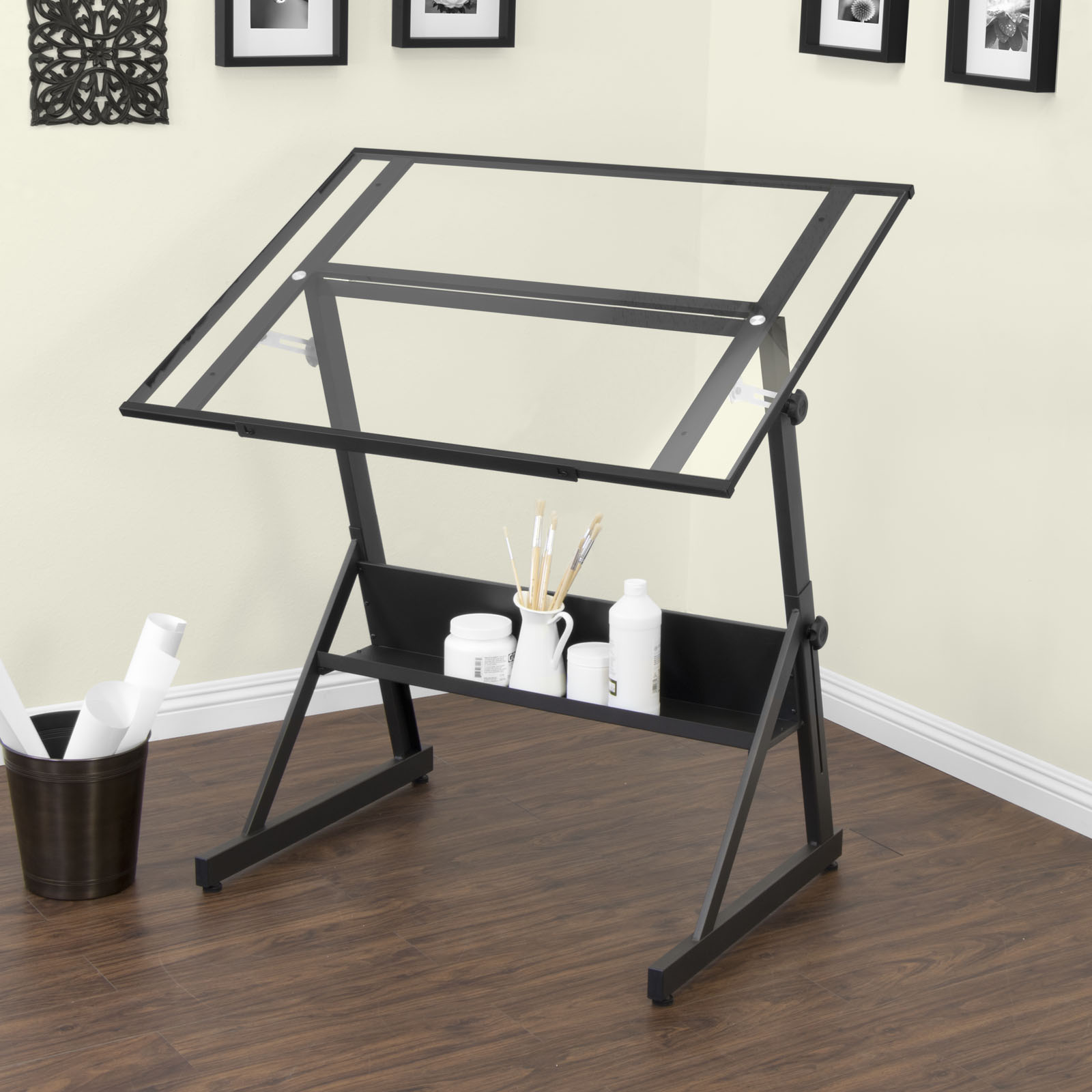 Solano Height Adjustable Drafting Table Black Clear Glass