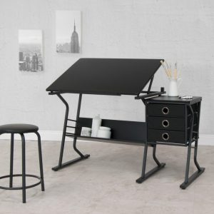 Phenomenal 2 Piece Comet Craft Center Adjustable Top Table With Storage Bralicious Painted Fabric Chair Ideas Braliciousco