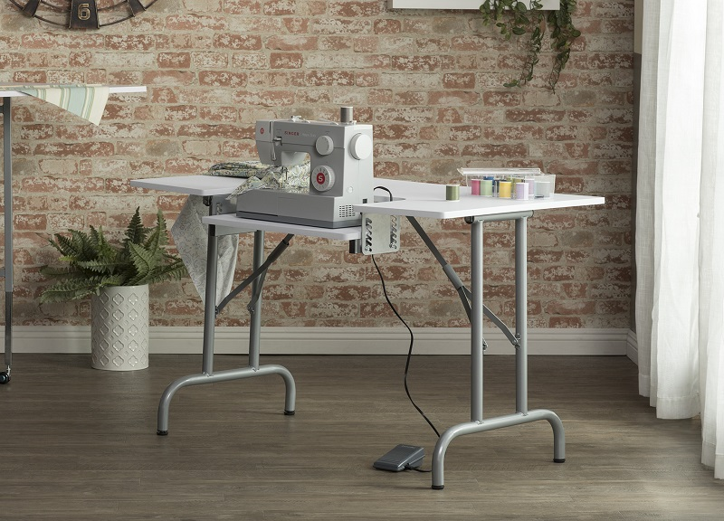 Folding Multipurpose Sewing Table In Silver White Item