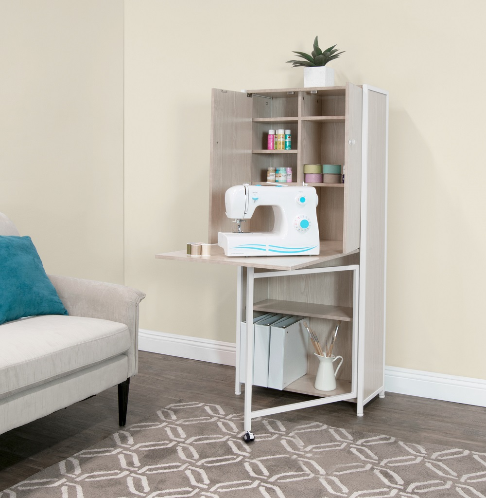Craft Multi Room Storage Armoire With Table Top In White