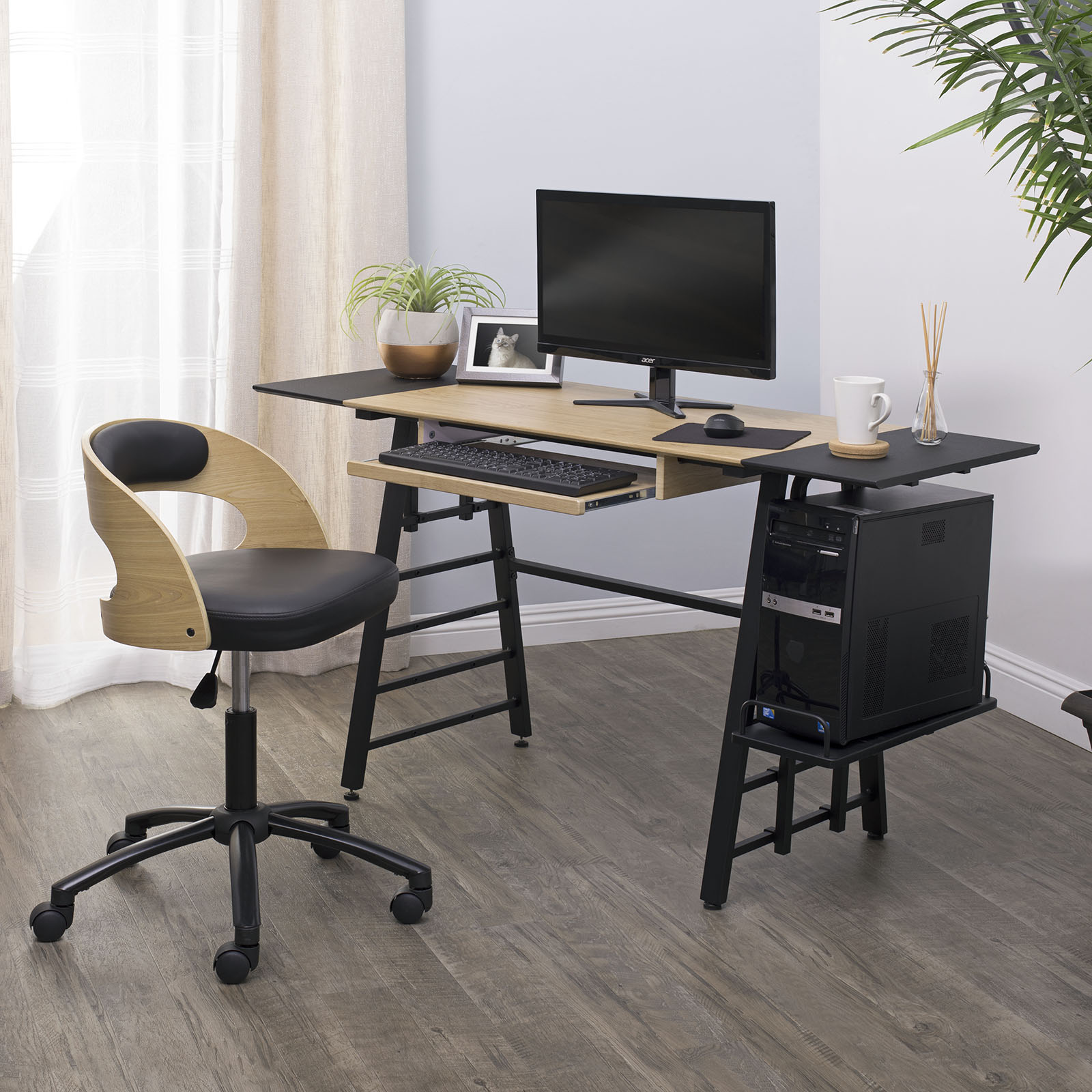 Ashwood Convertible Desk With Height Adjustable Shelves In Black Ashwood Item 51240 Studio Designs