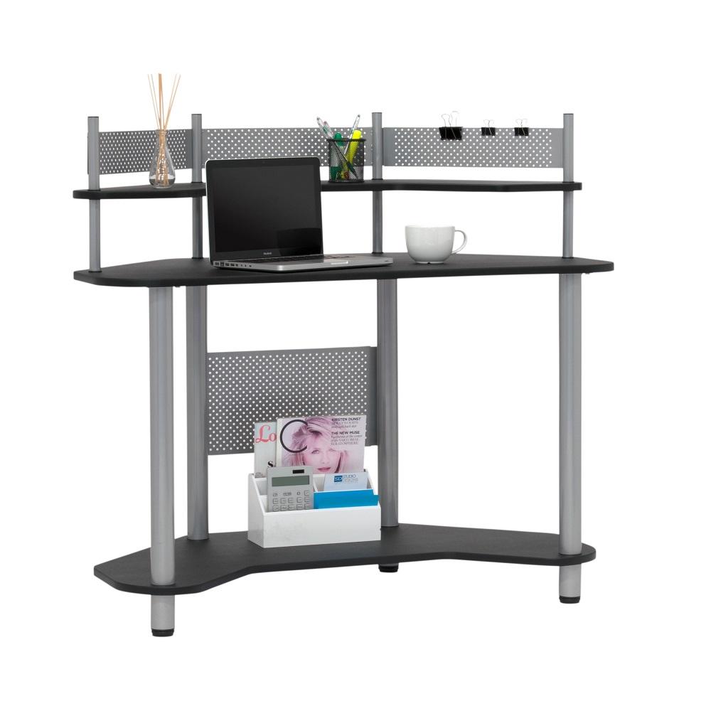 Corner Computer Desk: Study Corner Computer Desk With Shelves In Silver/Black