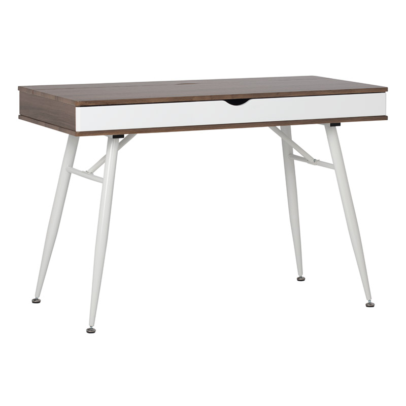 Alcove Modern Pocket Writing Desk With Large Split Drawer In White
