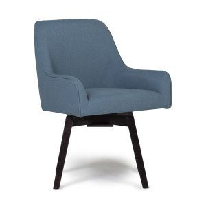 Spire Swivel Dining Office Chair In Baltic Blue Wood