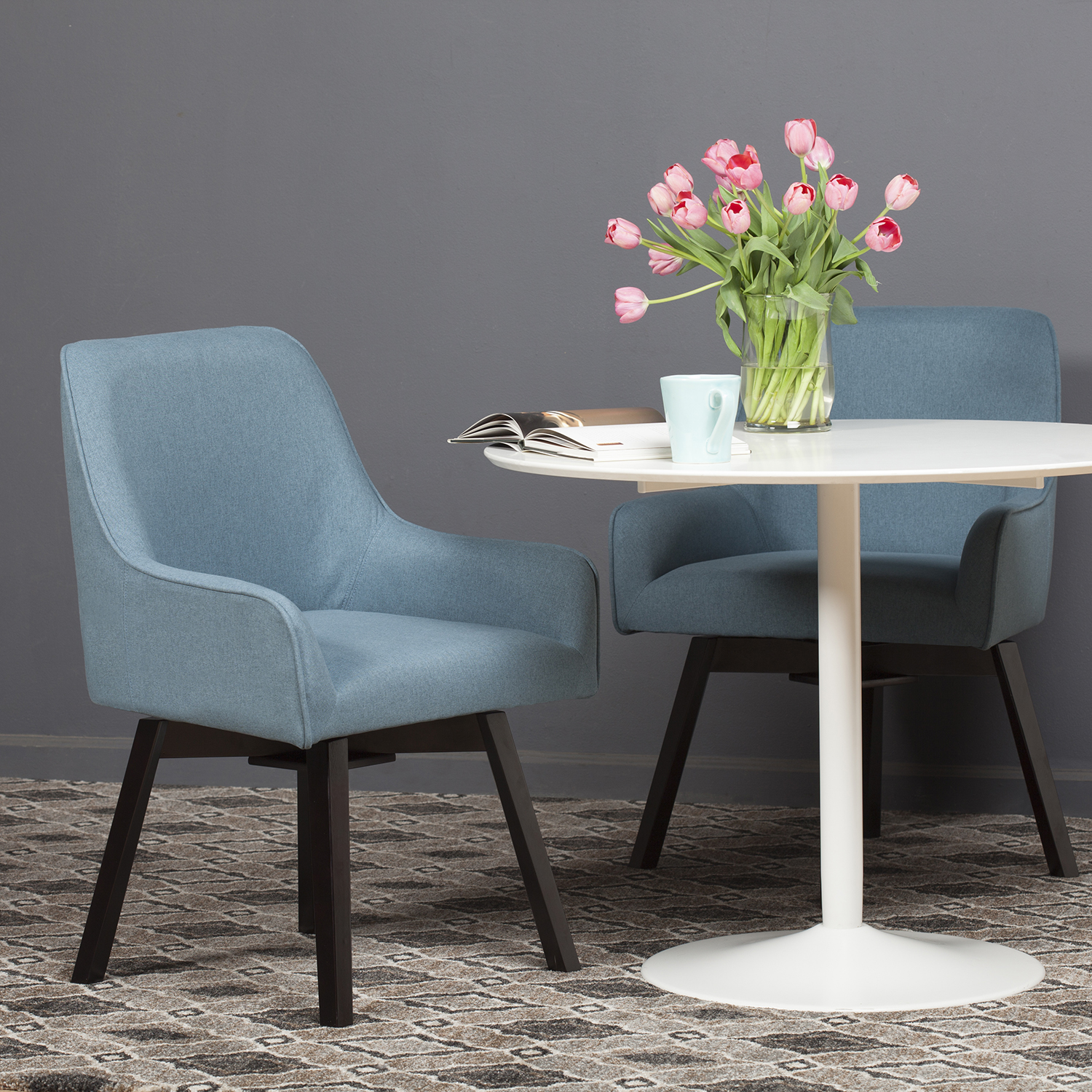 Spire Swivel Dining / Office Chair in Baltic Blue / Wood ...