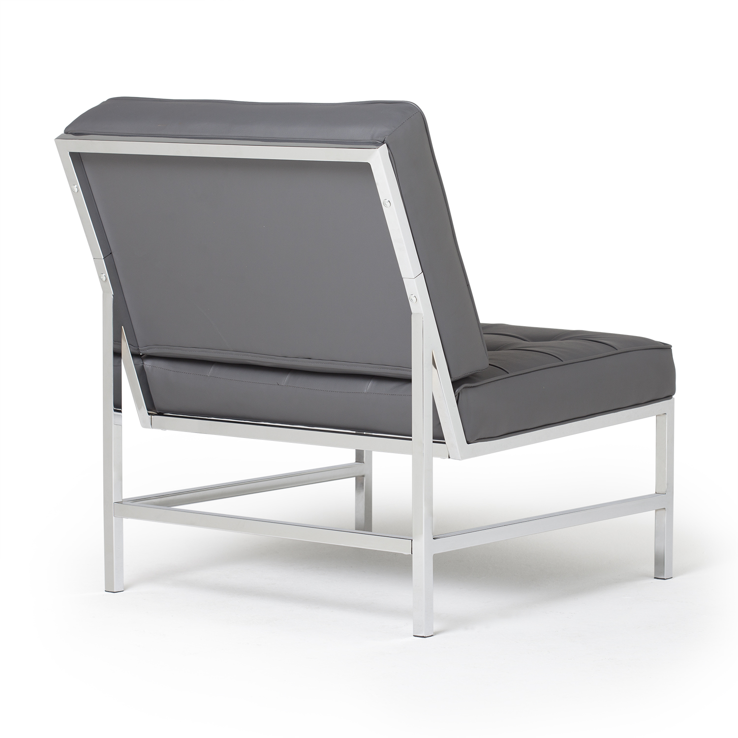 Ashlar Bonded Leather Accent Chair In Smoke Gray Chrome