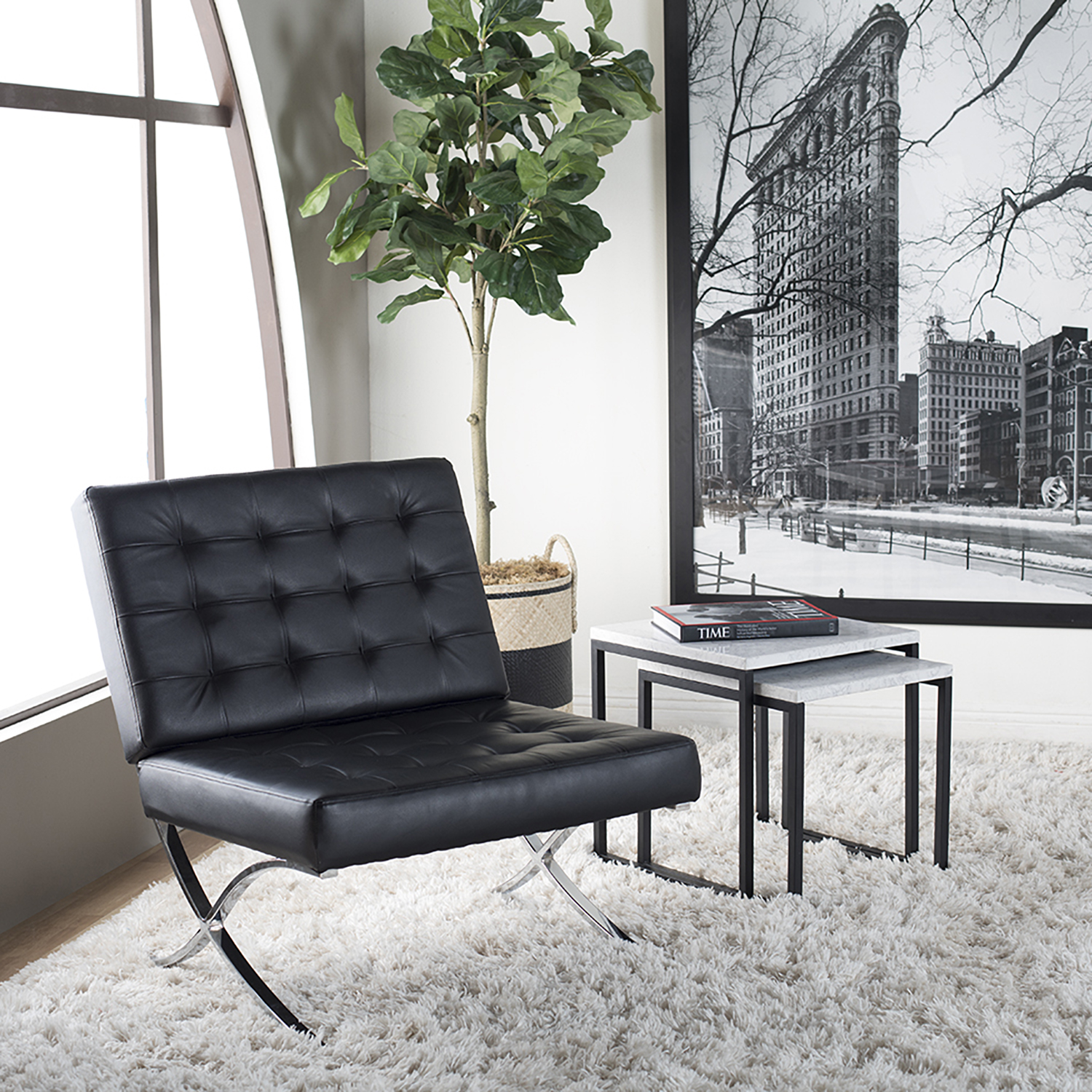 Fine Atrium Modern Bonded Leather Accent Chair In Black Chrome Pabps2019 Chair Design Images Pabps2019Com