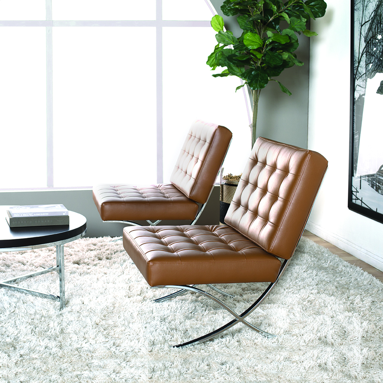 Picture of: Atrium Modern Bonded Leather Accent Chair In Caramel Brown Chrome Item 72031 Studio Designs